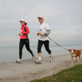 Running on the shore of Lake Balaton