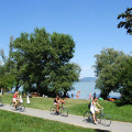 Cycling on the shore of Lake Balaton